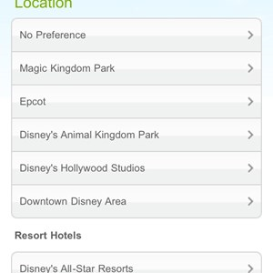 3 of 6: Walt Disney World Resorts - Mobile dining reservations iPhone screen shots
