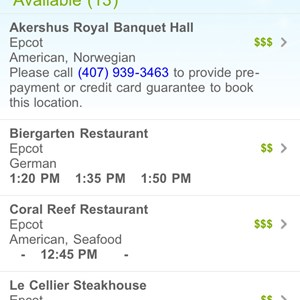 5 of 6: Walt Disney World Resorts - Mobile dining reservations iPhone screen shots