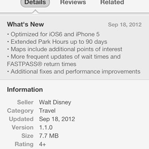 2 of 2: Walt Disney World Resorts - Official iPhone App updates