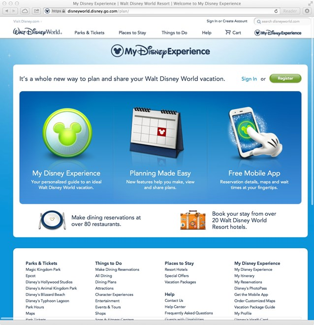 Walt Disney World Resorts - New official Walt DIsney World website - My Disney Experience section