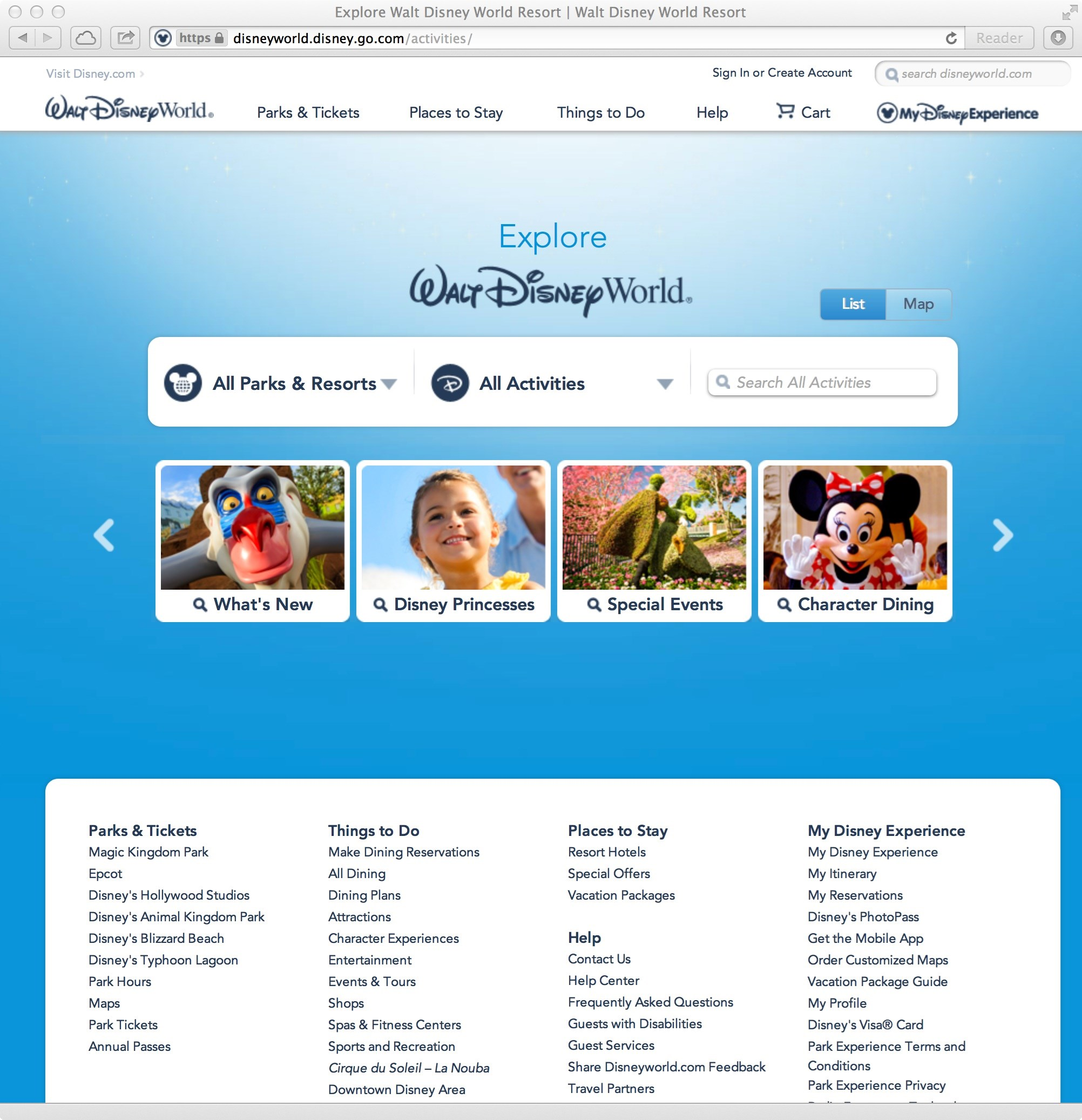 New official Walt DIsney World website