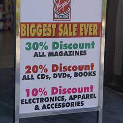 Virgin Megastore stock clearance