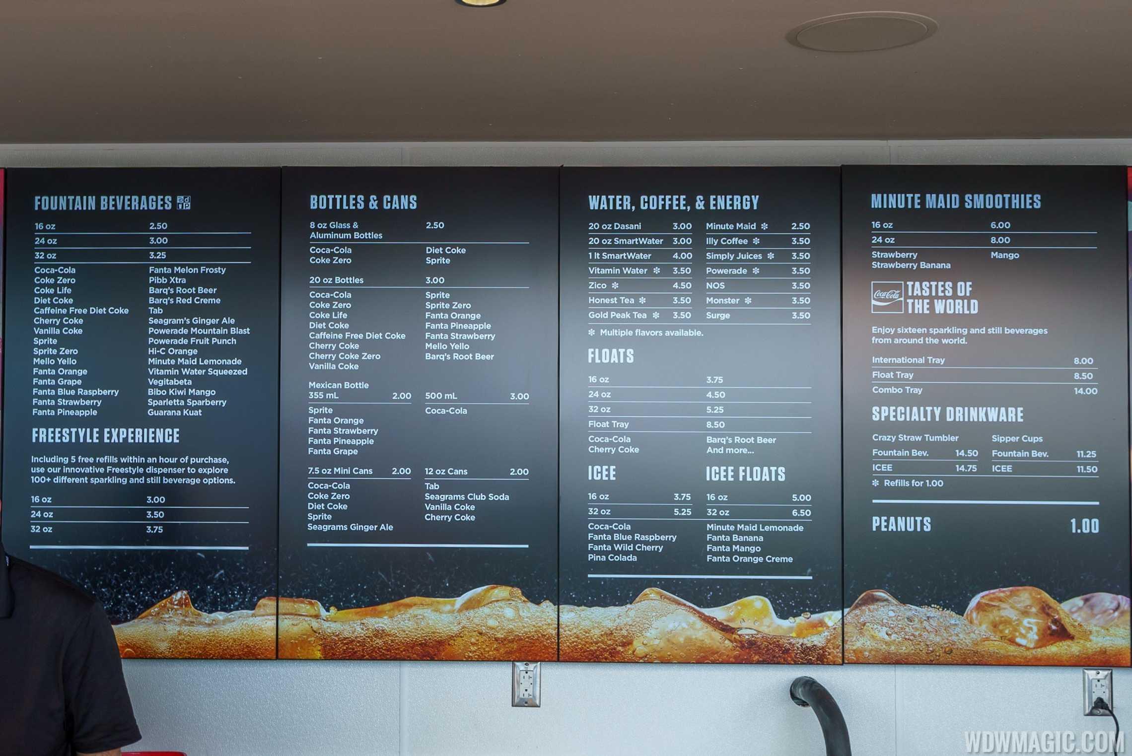 Coca-Cola Store Orlando - Rooftop bar menu