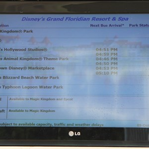 1 of 3: Bus Transportation - Transportation schedule screen at Disney's Grand Floridian Resort