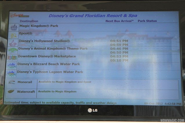 Bus Transportation - Transportation schedule screen at Disney's Grand Floridian Resort