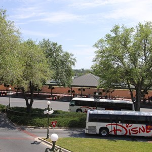3 of 6: Bus Transportation - Magic Kingdom bus stop expansion - construction walls in place