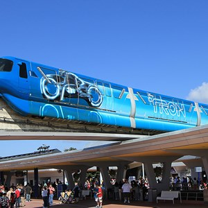 1 of 9: Walt Disney World Monorail System - The left front side of Monorail TRON entering Epcot