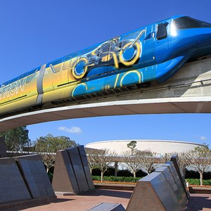 3 of 9: Walt Disney World Monorail System - The front right side of Monorail TRON on the Epcot beam