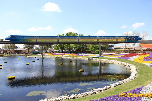 Walt Disney World Monorail System - The full length of the right side of Monorail TRON