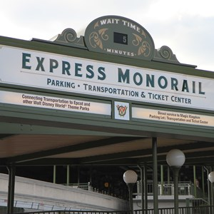 1 of 4: Walt Disney World Monorail System - Express Monorail wait time sign