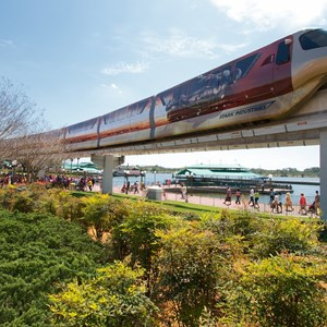 1 of 7: Walt Disney World Monorail System - Iron Man 3 wrapped Monorail Black heading into the Magic Kingdom station on the Express beam