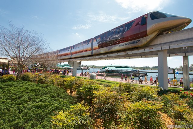Walt Disney World Monorail System - Iron Man 3 wrapped Monorail Black heading into the Magic Kingdom station on the Express beam