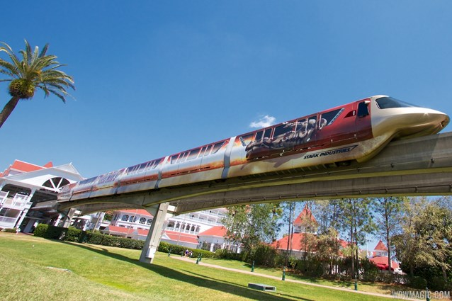 Walt Disney World Monorail System - Iron Man 3 wrapped Monorail Black leaving the Grand Floridian Station on the Express beam