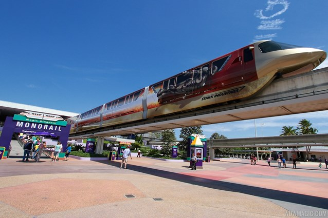 Walt Disney World Monorail System - Iron Man 3 wrapped Monorail Black entering the TTC Station on the Express beam