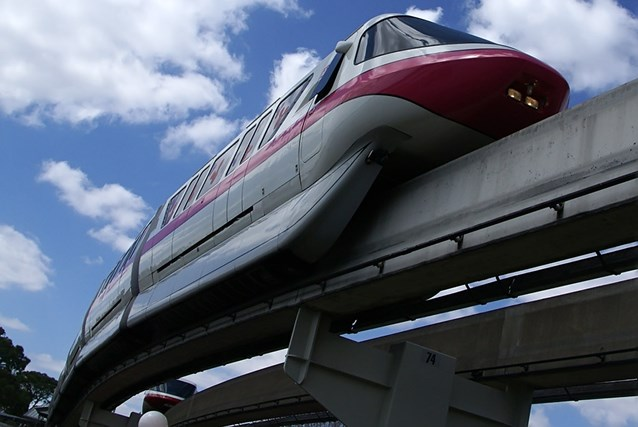 Walt Disney World Monorail System - Monorail Pink leaving the Magic Kingdom on the Resort Line March 2009.