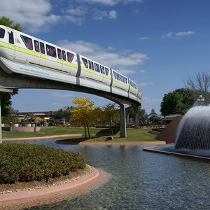 5 of 7: Walt Disney World Monorail System - Monorail Lime in Future World on the Epcot line.