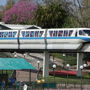 4 of 4: Walt Disney World Monorail System - Monorail Blue on the Resort line leaving the Magic Kingdom station.