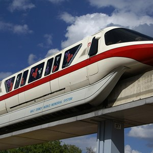 4 of 5: Walt Disney World Monorail System - Monorail Red entering Epcot
