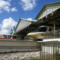 Walt Disney World Monorail System - Monorail Orange leaving the station on the Resort Line