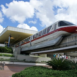 1 of 4: Walt Disney World Monorail System - Monorail Red on the Resort Line leaving the TTC