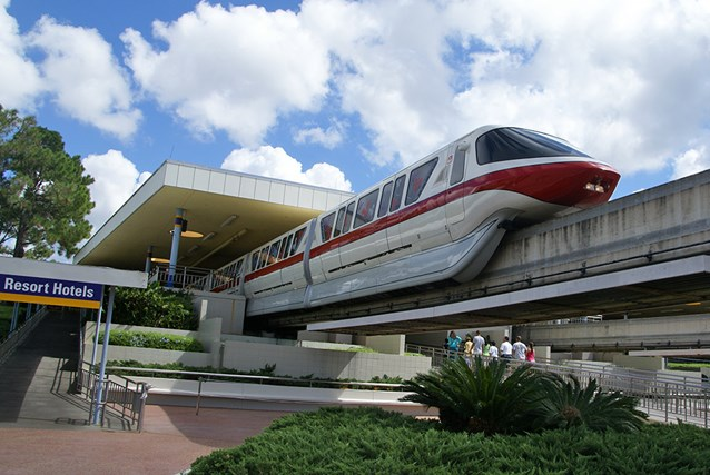 Walt Disney World Monorail System - Monorail Red on the Resort Line leaving the TTC
