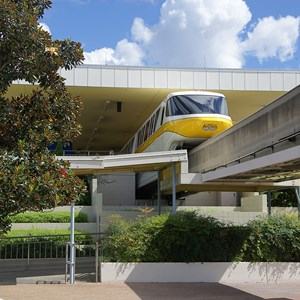 4 of 4: Walt Disney World Monorail System - Monorail Yellow inside the TTC Station on the Epcot Line