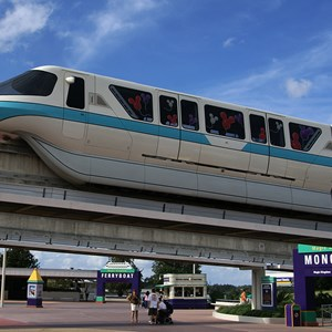 2 of 9: Walt Disney World Monorail System - The rear of Monorail Teal entering the TTC
