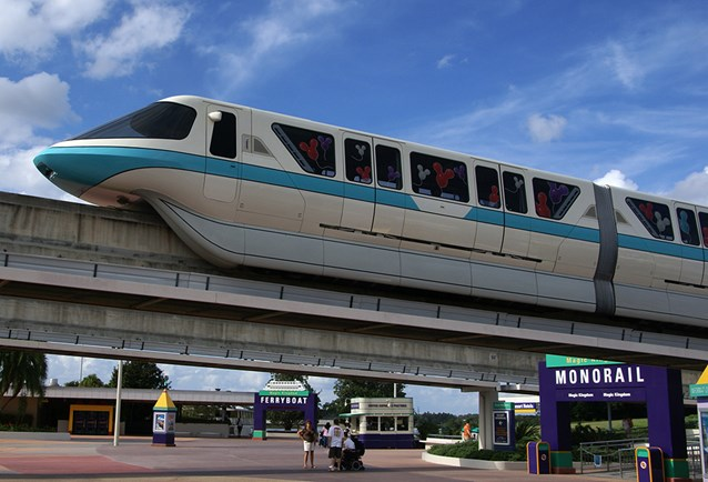 Walt Disney World Monorail System - The rear of Monorail Teal entering the TTC