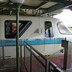 3 of 9: Walt Disney World Monorail System - The rear cab of Monorail Teal in the Magic Kingdom Station
