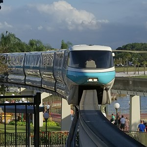 5 of 9: Walt Disney World Monorail System - Monorail Teal entering the Magic Kingdom station