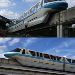 9 of 9: Walt Disney World Monorail System - A comparison of Monorail Blue and Monorail Teal shot on the same day with the same camera. (Blue is above, Teal below)