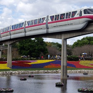 2 of 2: Walt Disney World Monorail System - Monorail Pink in Epcot March 2009.